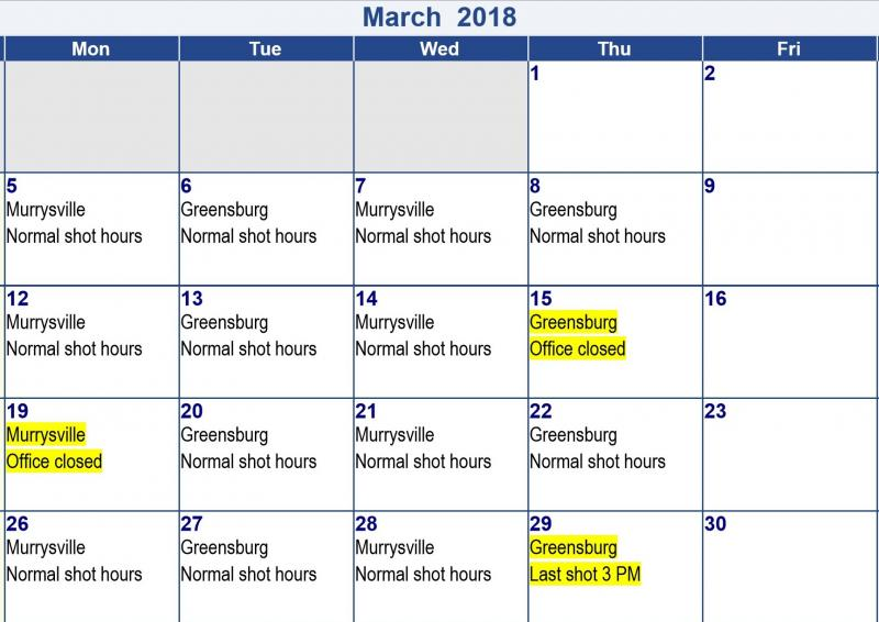 March 2018 Allergy Asthma Sinus Wellness shot calendar